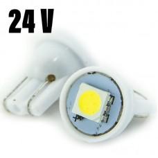 24V T10 (W5W) 1SMD 5050 25Lm БЕЛЫЙ