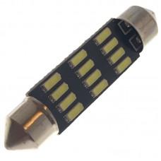 12V AC (C5W) 12SMD 4014 42мм 260 Lm БЕЛЫЙ