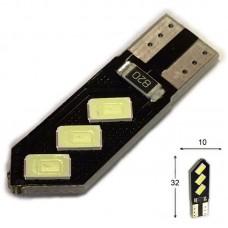 12V T10 (W5W) 6SMD 5630 (черная плата PCB) ГОЛУБОЙ