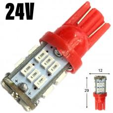 24V T10 (W5W) 30SMD 3014 80Lm КРАСНЫЙ