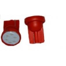 12V T10 (W5W)  COB 1W красный