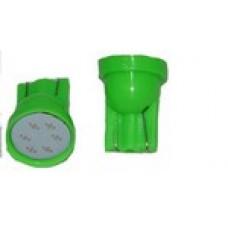 12V T10 (W5W) COB 1W зеленый