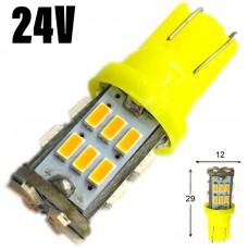 24V T10 (W5W) 30SMD 3014 80Lm ЖЕЛТЫЙ