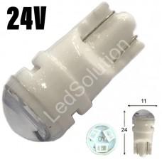 24V T10 (W5W) 3SMD 2835 мини керамика 60Lm СИНИЙ