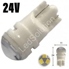 24V T10 (W5W) 3SMD 2835 мини керамика 120Lm БЕЛЫЙ