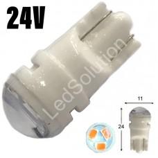 24V T10 (W5W) 3SMD 2835 мини керамика 60Lm ЖЕЛТЫЙ