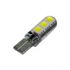 12V T10 (W5W) 6SMD 5050 силикон флеш 250Lm БЕЛЫЙ