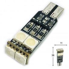 12V T10 (W5W) 6SMD 5050 мультицвет флеш RGB