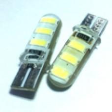 12V T10 (W5W) 6SMD 5630 силикон обманка 220Lm БЕЛЫЙ