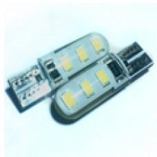 12V T10 (W5W) 6SMD 2835 обманка силикон 130Lm БЕЛЫЙ