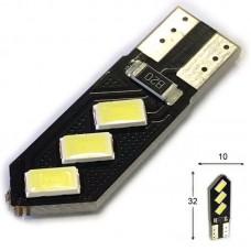 12V T10 (W5W) 6SMD 5630 (черная плата PCB) 105Lm БЕЛЫЙ