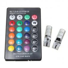 12V T10 (W5W) 6SMD мультицвет флеш с пультом (набор) 120Lm RGB